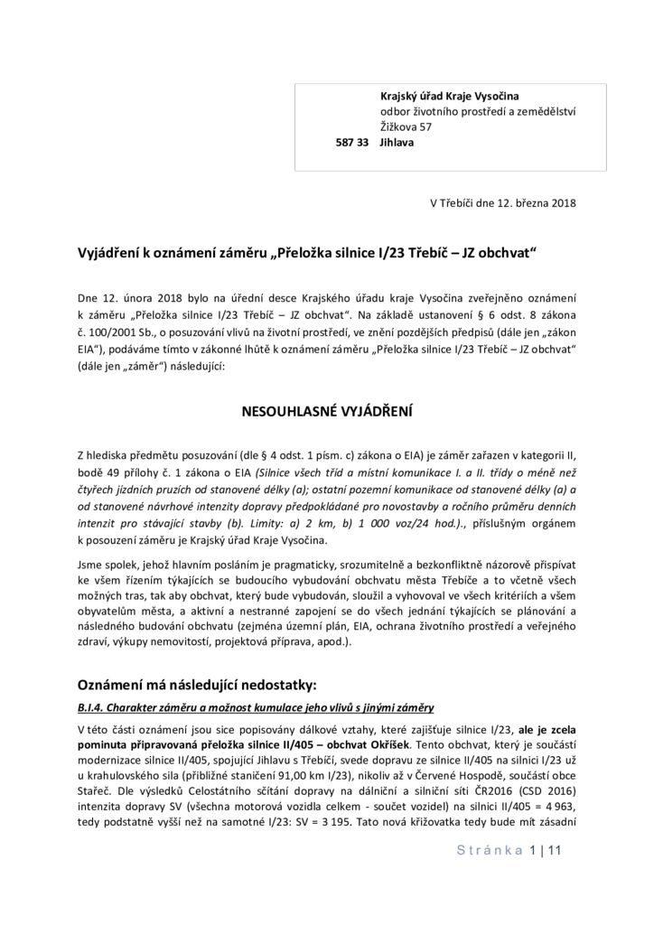 thumbnail of Krajský úřad kraje Vysočina – Vyjádření k Oznámení záměru podle § 6 odst. 8 zákona č. 100-2001 Sb., o posuzování vlivů na životní prostředí