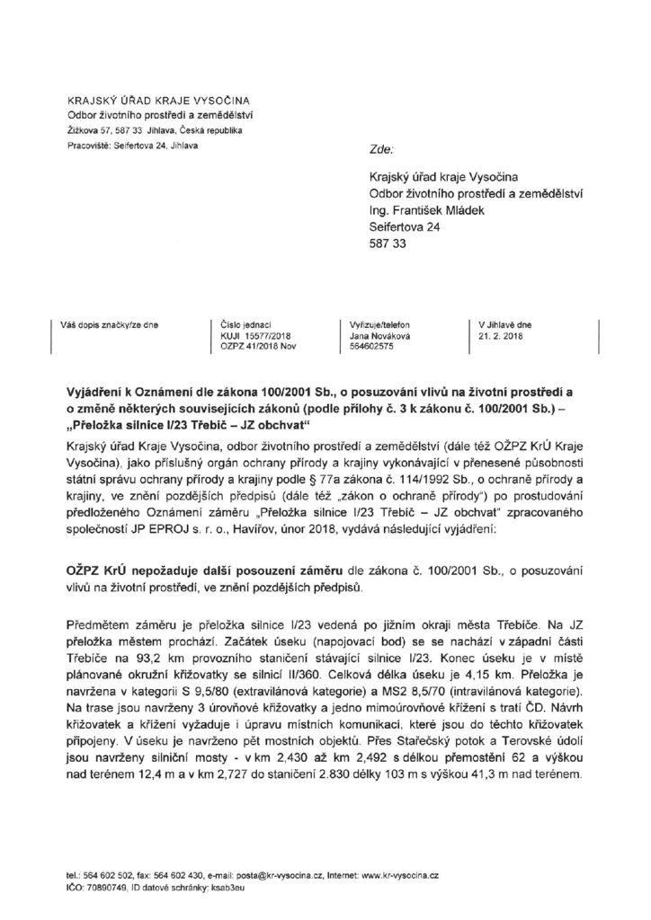 thumbnail of Vyjádření KrÚ Kraje Vysočina, OŽPZ ochrana přírody